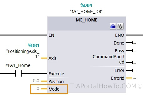 Positioning Axis Home command
